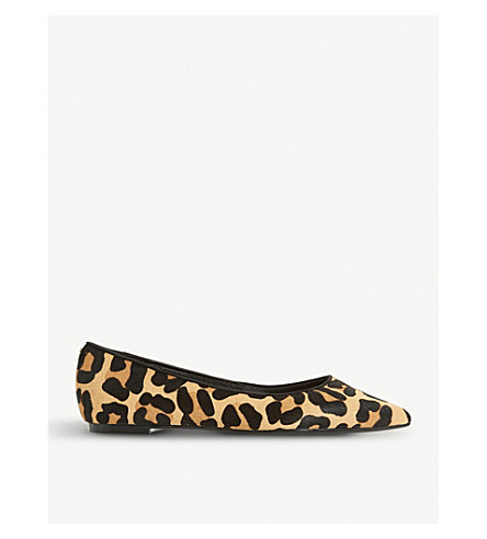 DUNE Aeron suede pointed-toe flats (Leopard-pony