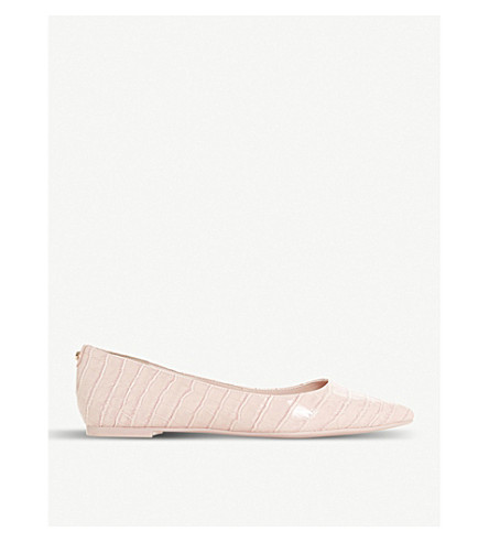 DUNE Aeron patent pointed-toe flats (Blush-patent+synthetic