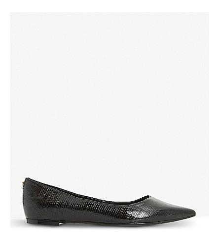 DUNE Aeron patent pointed-toe flats (Black-croc