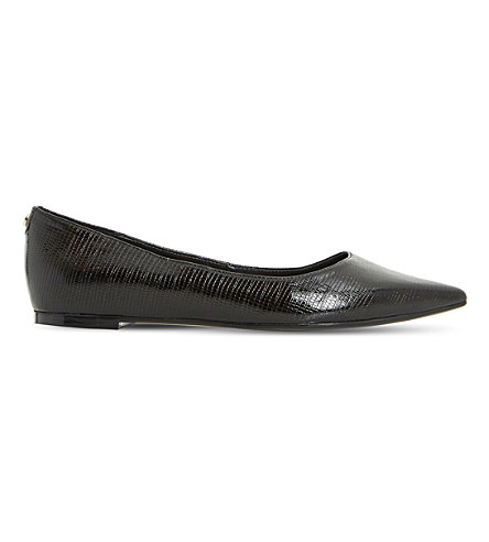 DUNE Aeron reptile pointed-toe flats (Black-snake