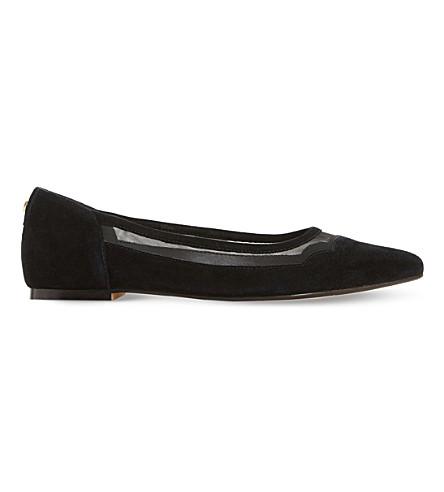 DUNE Bonnee scallop-trim suede court shoes (Black-suede