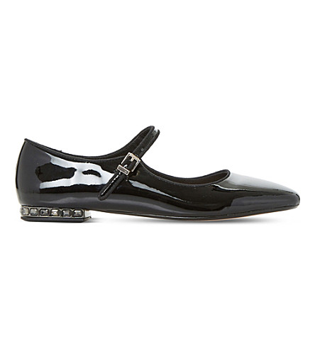 DUNE Anetta Mary Jane faux-patent leather shoes (Black-patent