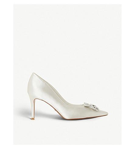DUNE Breanna embellished satin pointed-toe court shoes (Ivory-satin