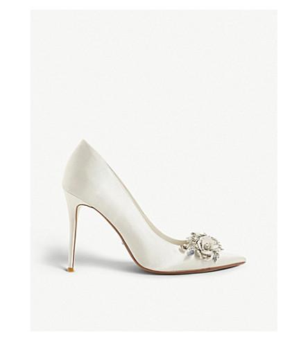 DUNE Brydee embellished satin pointed-toe court shoes (Ivory-satin