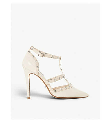 DUNE Daeneryss stud-embellished leather pumps (Ivory
