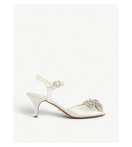 DUNE Majestiie embellished satin kitten heels (Ivory-satin