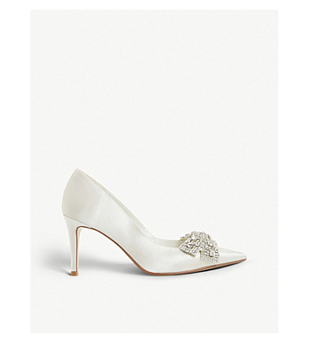 DUNE Beaubellee embellished satin pointed-toe court shoes (Ivory-satin
