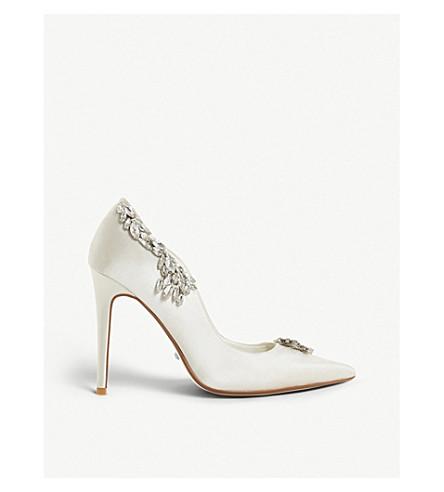 DUNE Bestowedd embellished satin pointed-toe court shoes (Ivory-satin