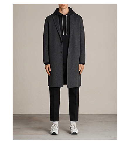 ALLSAINTS Foley wool-blend coat (Charcoal+grey