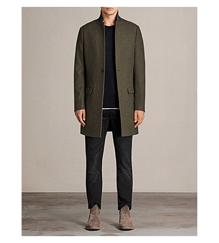 ALLSAINTS Denton notch lapel wool-blend coat (Khaki+green
