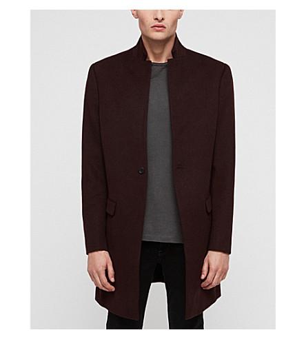ALLSAINTS Bodell notch-lapel wool coat (Aubergine+red