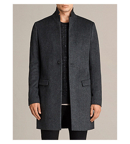 ALLSAINTS Bodell notch-lapel wool coat (Charcoal+grey