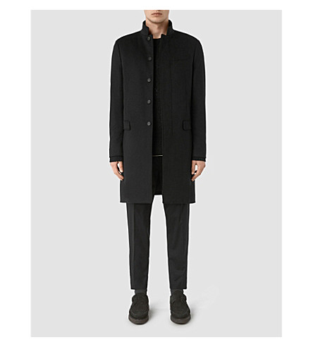 ALLSAINTS Adler wool and silk-blend coat (Black