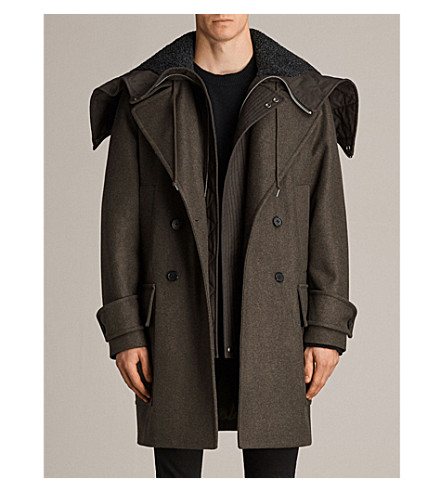 ALLSAINTS Elston oversized wool-blend coat (Khaki+brown