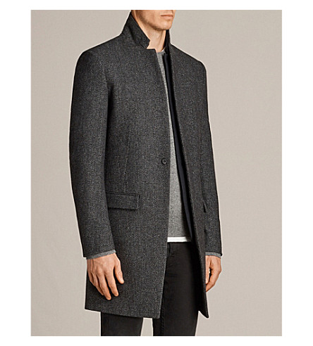 ALLSAINTS Falun wool-blend coat (Charcoal+grey