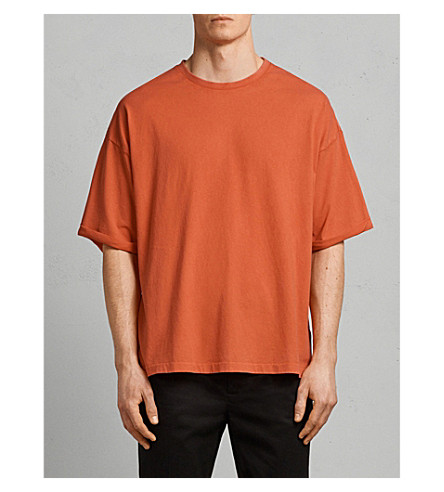ALLSAINTS Kleve cotton-jersey T-shirt (Block+red