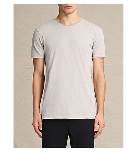 ALLSAINTS Crewneck cotton-jersey T-shirt (Almond+grey