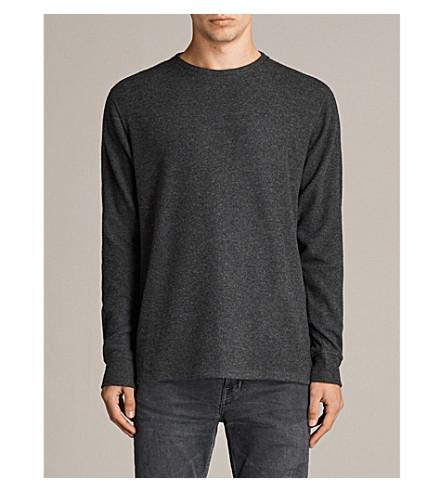 ALLSAINTS Kraus marl-pattern jersey top (Charcoal+marl