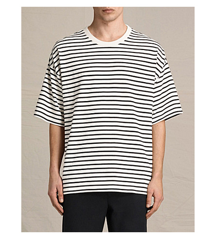 ALLSAINTS Ivan oversized jersey T-shirt (Black/ecru+whi
