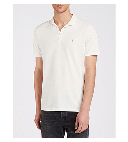 ALLSAINTS Ossage cotton-jersey polo shirt Chalk white Cheapest Cheap Price WRz4g