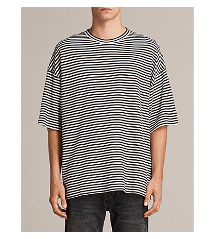 ALLSAINTS Torny striped cotton-blend T-shirt (Black/white