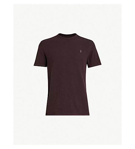 ALLSAINTS Clash waffle-knit cotton T-shirt (Oxblood red