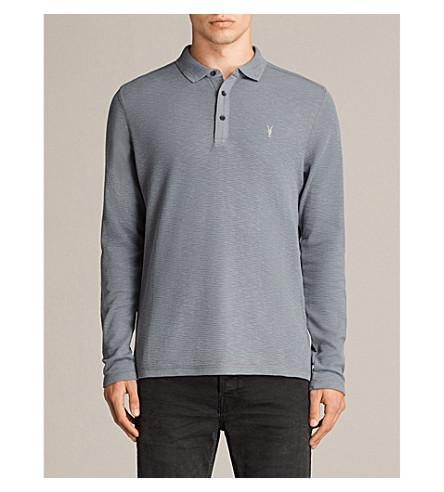 ALLSAINTS Clash long-sleeved polo shirt (Artillery+blue