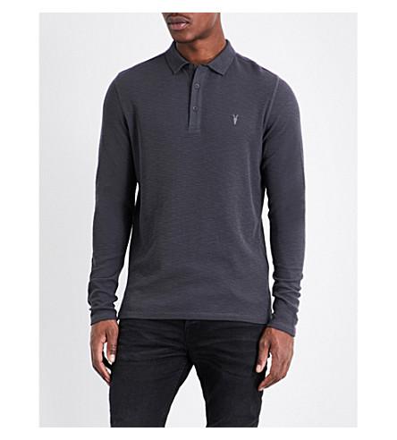 ALLSAINTS Clash long-sleeved polo shirt (Iron+blue