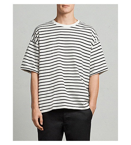 ALLSAINTS Kleve striped cotton-jersey T-shirt (Black/chalk