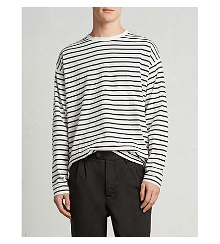 ALLSAINTS Kleve striped cotton-jersey top (Black/chalk