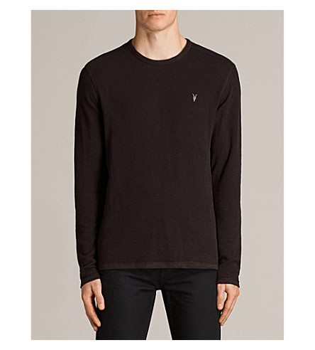 ALLSAINTS Clash cotton-jersey top (Aubergine+red