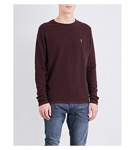 ALLSAINTS Clash cotton-jersey top (Damson+red