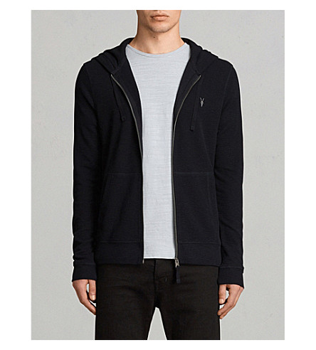 ALLSAINTS Clash cotton-jersey hoody (Ink+navy