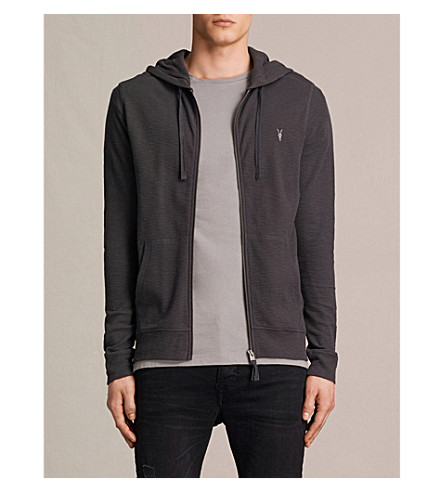ALLSAINTS Clash cotton-jersey hoody (Washed+black