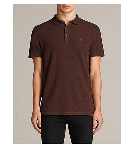 ALLSAINTS Clash cotton-jersey polo shirt (Burnt+red