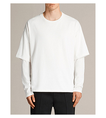 ALLSAINTS Spindle sleeve-overlay cotton-blend long-sleeved T-shirt (Chalk+white