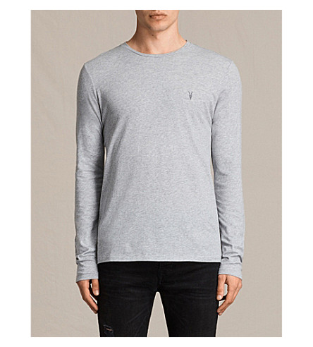 ALLSAINTS Tonic long-sleeved cotton top (Grey+marl