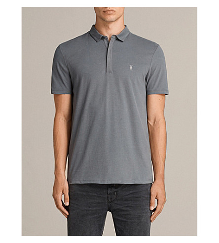 ALLSAINTS Brace cotton-jersey polo shirt (Artillery+blue