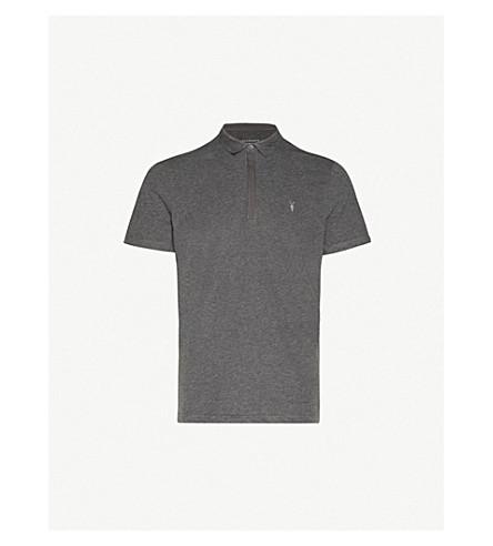 ALLSAINTS Brace cotton-jersey polo shirt (Charcoalmarl