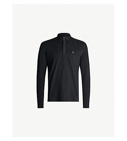 ALLSAINTS 大括号长袖平纹针织棉 Polo 衫 (喷气 + 黑色