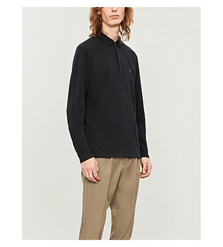 ALLSAINTS Brace long-sleeved cotton-jersey polo shirt (Jet+black