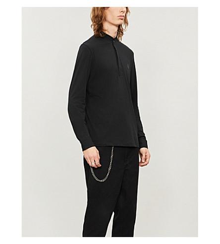 ALLSAINTS Grail cotton-jersey polo shirt (Jet+black