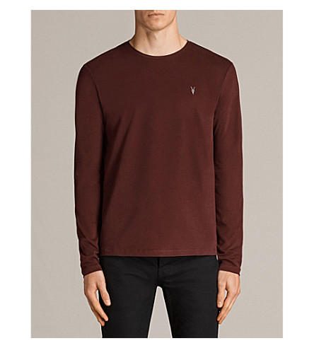 ALLSAINTS Brace long-sleeved cotton-jersey top (Burnt+red