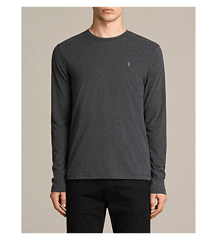 ALLSAINTS Brace long-sleeved cotton-jersey top (Charcoal+marl