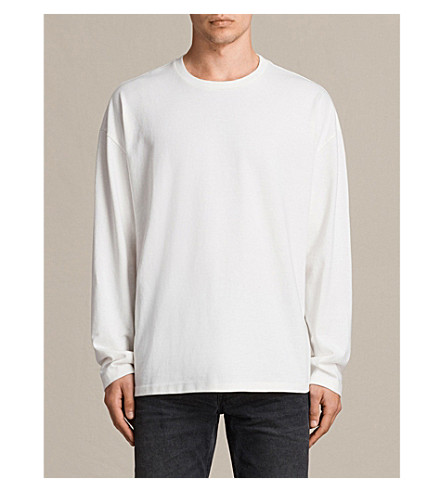 ALLSAINTS Ivon long-sleeved jersey top (Chalk+white