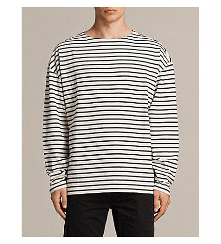 ALLSAINTS Ivan long-sleeved jersey top (Ecru+white/bla