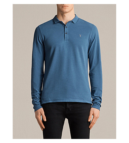 ALLSAINTS Reform cotton-piqué polo shirt (Aqua+blue