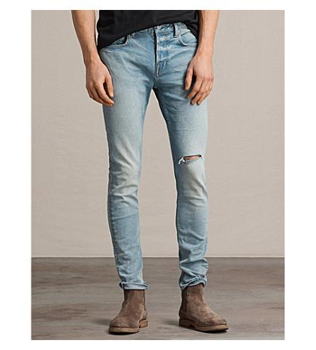 ALLSAINTS Index distressed cigarette-fit skinny jeans (Indigo