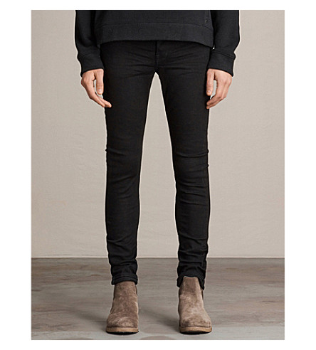 ALLSAINTS Boda skinny-fit cigarette jeans (Jet+black