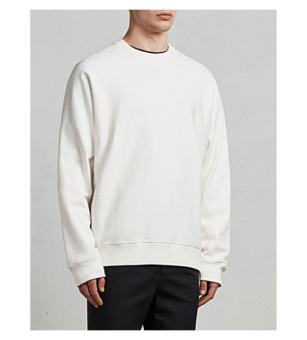 ALLSAINTS Gethian oversized cotton-jersey sweatshirt (Chalk+white